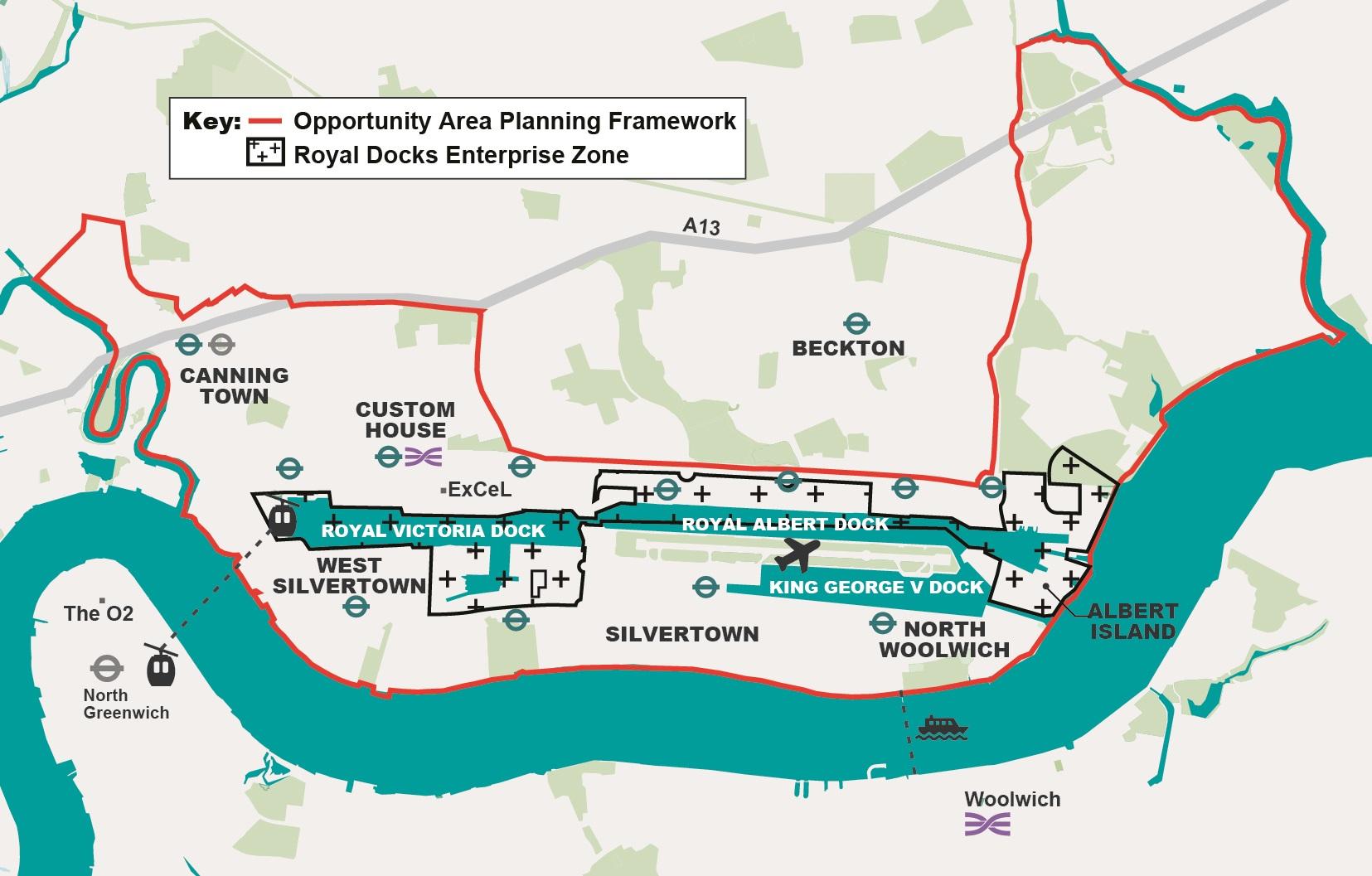 London Border Map.Royal Docks Beckton Riverside Opportunity Area London City Hall