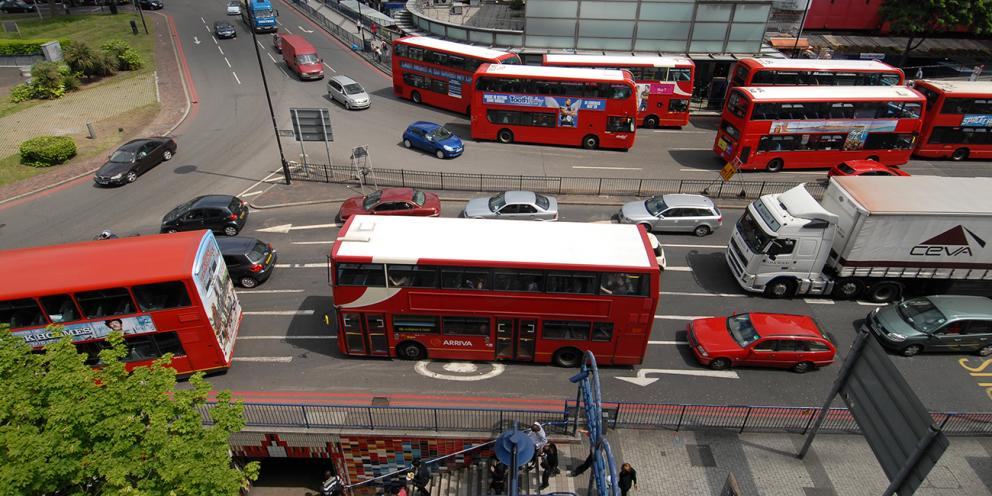 Aerial view of buses at Elephant and Castle