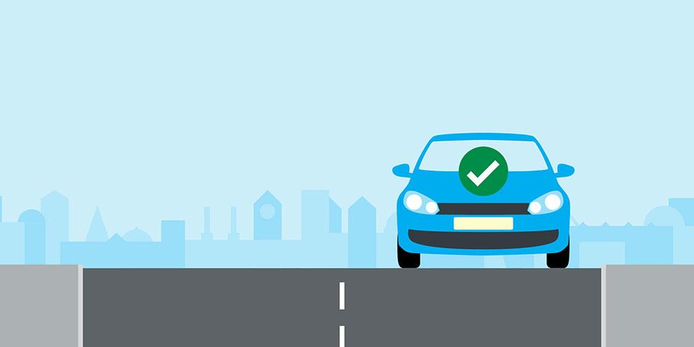 Clean air illustration - car with green tick