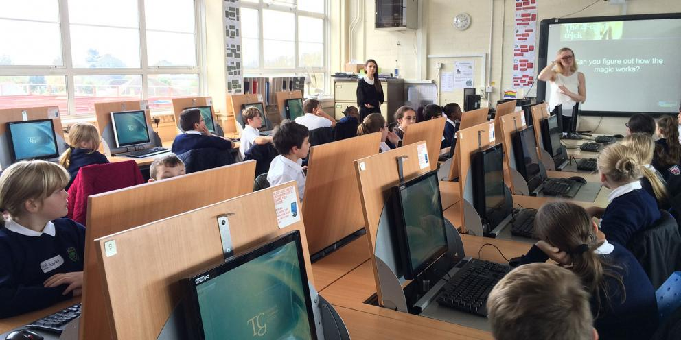Children on computers in classroom