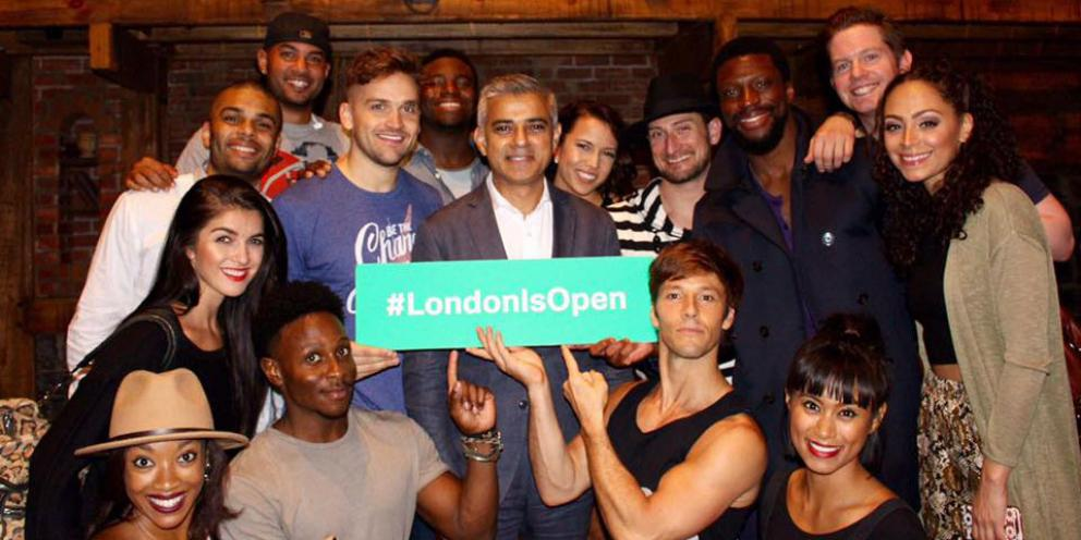 Sadiq with the cast from Hamilton: an American musical