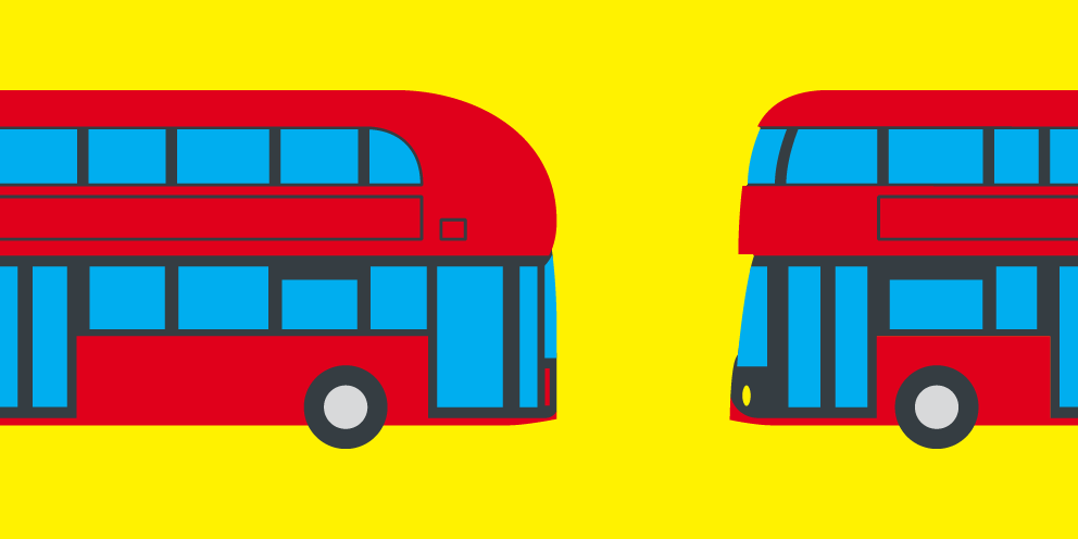 A graphic of two London buses