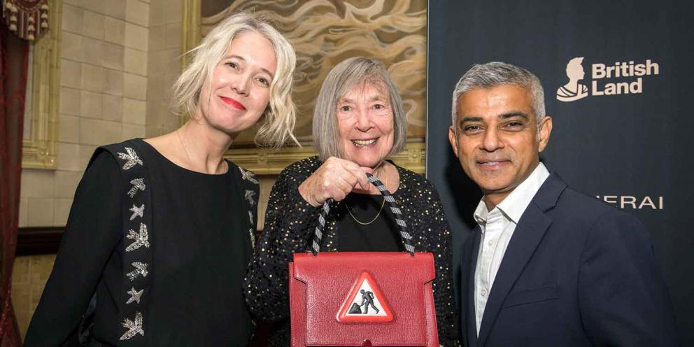 Margaret Calvert receiving Lifetime Achievement Medal at the London Design Festival
