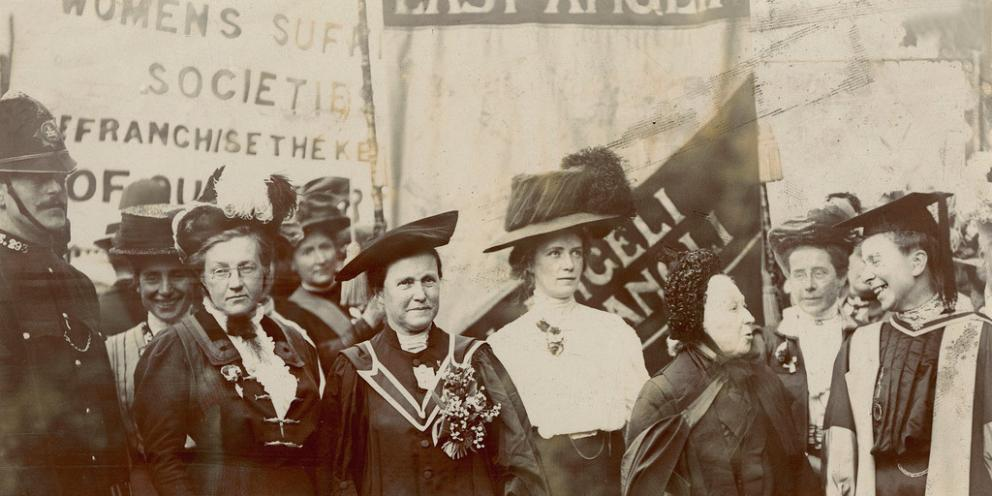 and others at a suffrage demonstration, circa 1910. Image credit: LSE Library