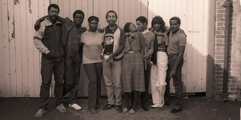 Image Credit   Yemi Ajibade's Fingers Only Fingers (1982) produced by Black Theatre Co-operative   Photograph by Michael Mayhew, National Theatre Archive   L_R: T-Bone Wilson, Christopher Asante, Ena Cabayo, Malcolm Frederick, Judith Jacob, Chris Tummings