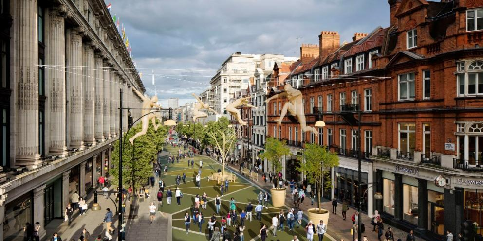 An artist's impression of how the future Oxford Street could look