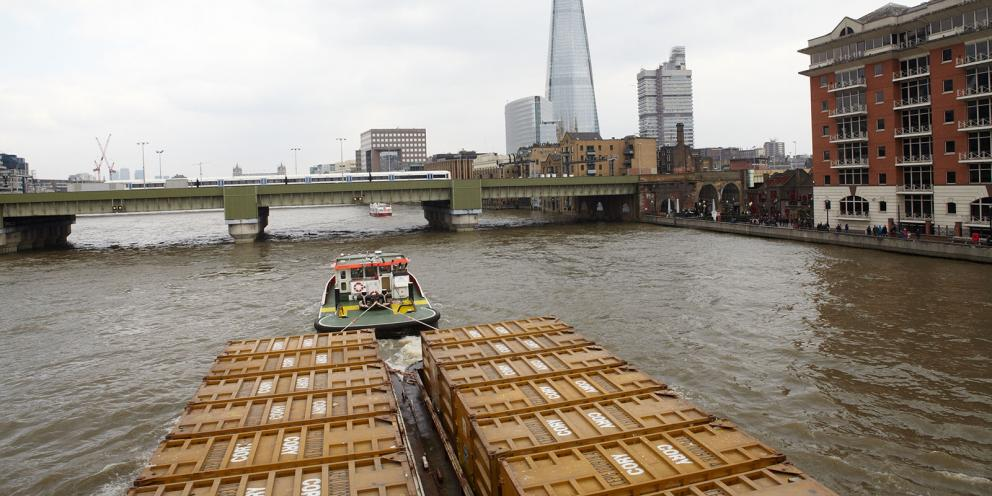 Freight boat on the Thames