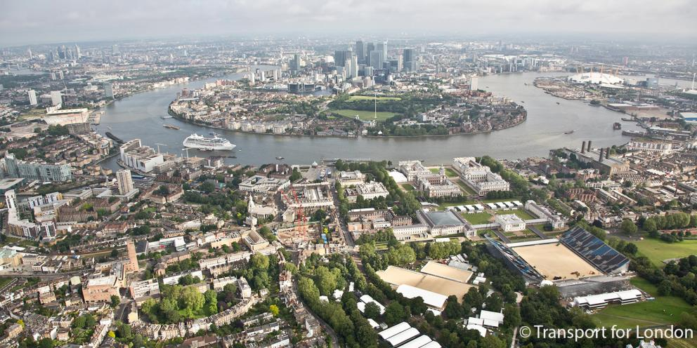 Aerial view of Greenwich and Canary Wharf