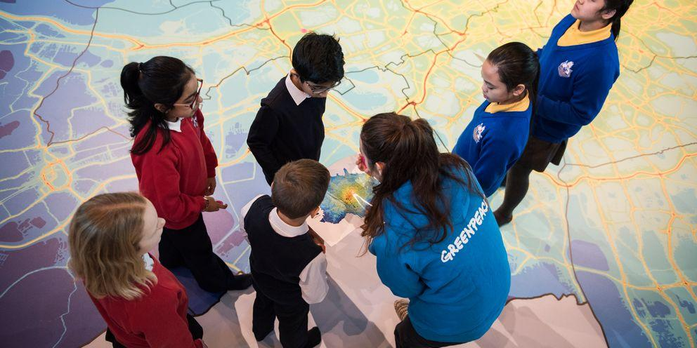 School children in the map room at City Hall