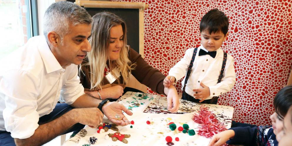 Mayor of London Sadiq Khan makes Christmas crafts with the children at Magdalen Nursery