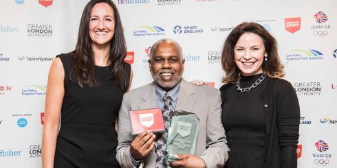 Henry T Palton Gaspard: London Sport Award for Volunteer of the Year winner holding his award