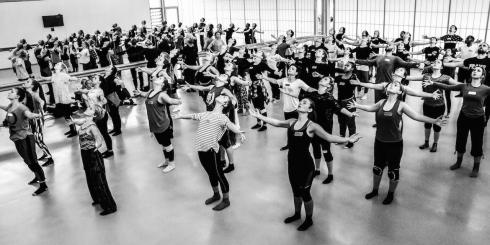 Akram Khan creating the Big Dance Pledge with students at the University of Roehampton Photo - Richard Parr (BW)