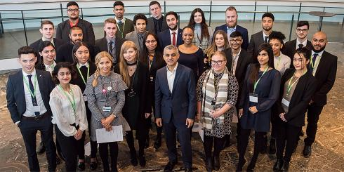 Generations of City Hall apprentices with Sadiq Khan