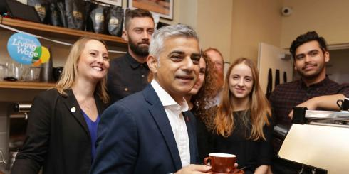 Sadiq Khan visits a coffee shop for the announcement of the new London Living Wage