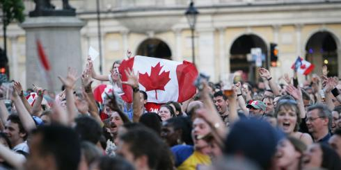 Crowd in Trafalgar Square for Canada Day