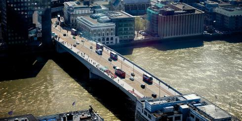 Aerial view of London Bridge