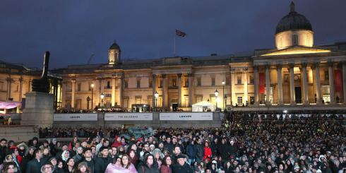 Massive crowd of Londoners watching film screening of The Salesman in Trafalgar Square