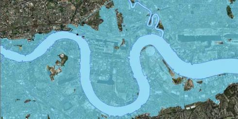 Drawing of London flood plain