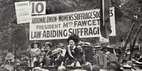Millicent Fawcett at suffrage rally