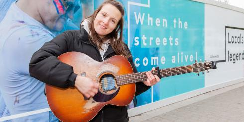 Nicola Hogg Busking at Wembley Park. Photo by Gary W Smith.