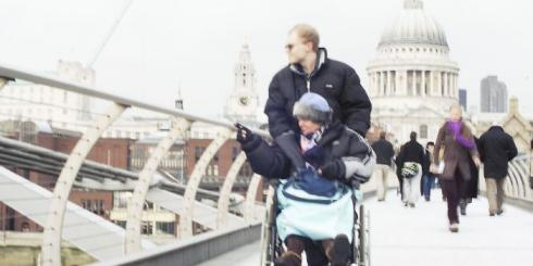 Wheelchair user on the millennium bridge