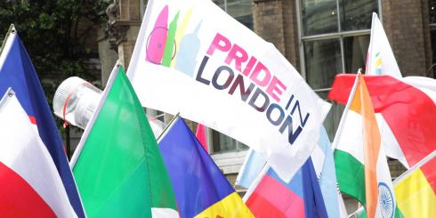 Pride in London flag and others at the event in 2016