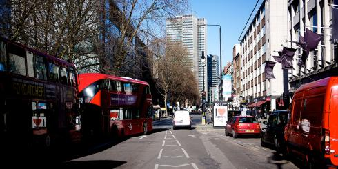 Red buses on a London street