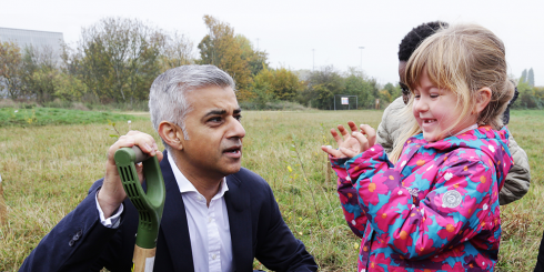 Sadiq Khan poppy tree planting in Waltham Forest