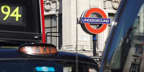 Bus, taxi and underground sign