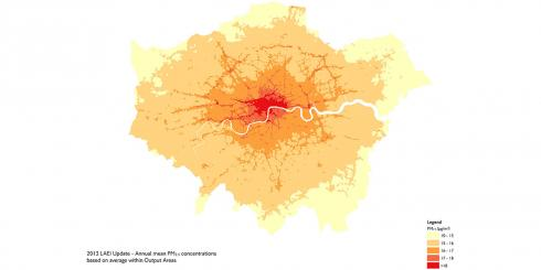 Map showing PM2.5 levels across London