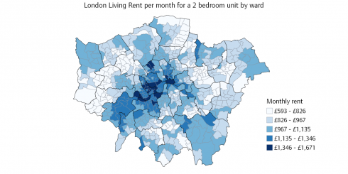London Living Rent ward map