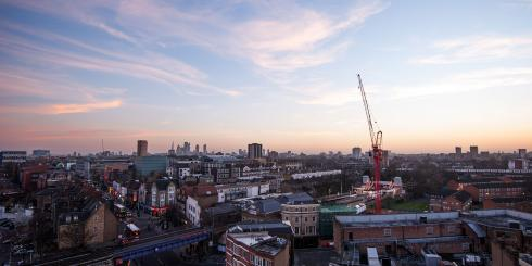 Aerial view of Hackney Central