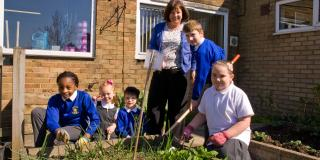 Students take part in a school garden project in Croydon