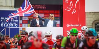 Sadiq Khan waves the flag at the annual Ride London event