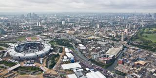 Aerial view of East London