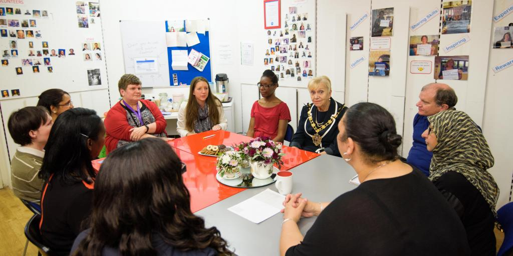 A round table with current and former volunteers and Karen Chillman, Head of Volunteering at Croydon Voluntary Action