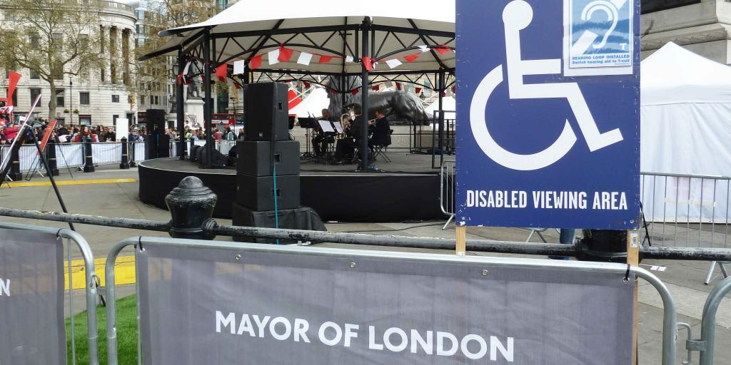 Disabled viewing area sign at Feast of St George on Trafalgar Square