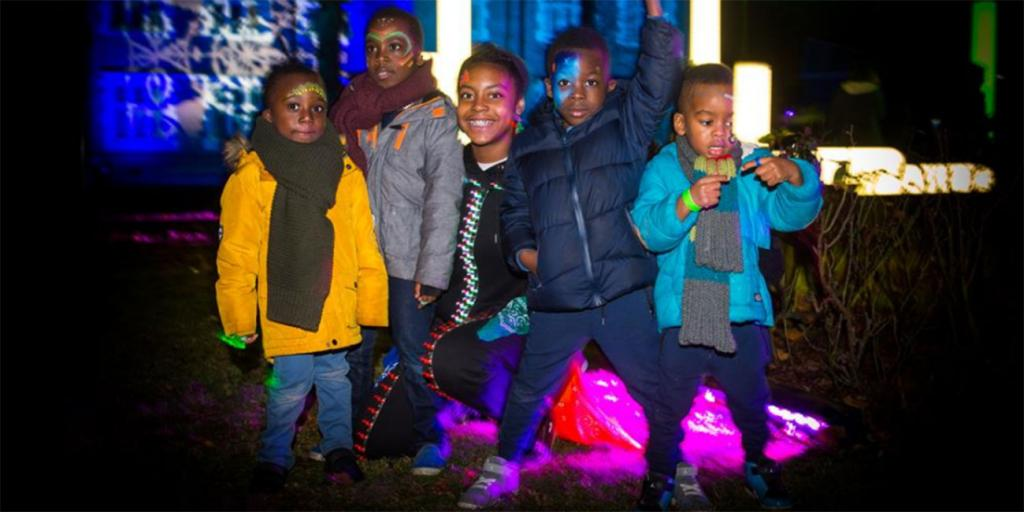 Children at a light festival
