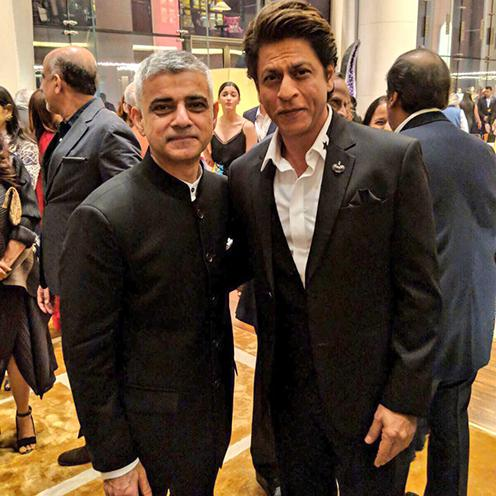 Mayor of London Sadiq Khan and Bollywood star Shah Rukh Khan