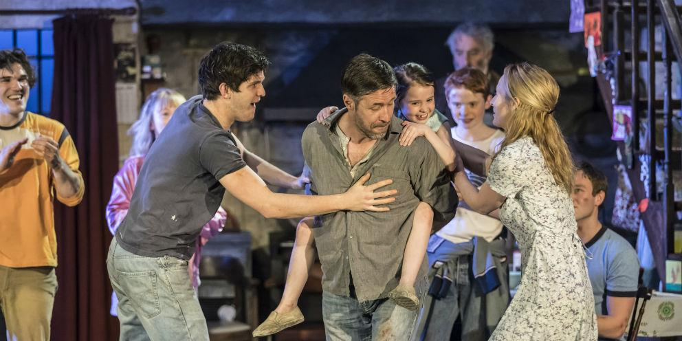 Laura Donnelly, Caitlin Carney and Paddy Considine on stage for The Ferryman, Gielgud Theatre