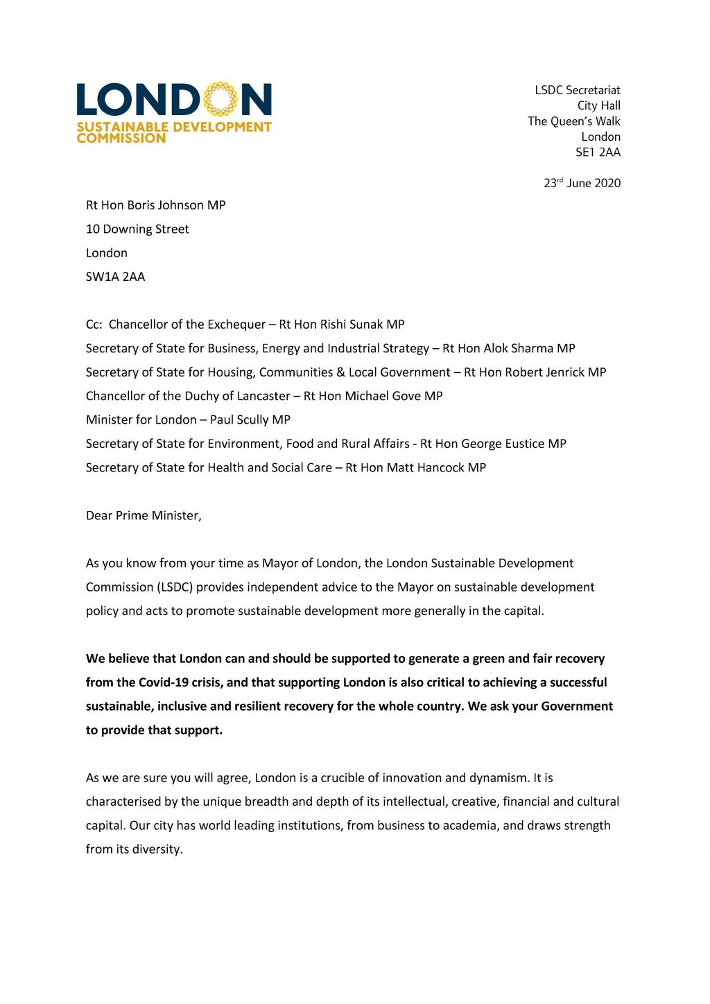 LSDC letter to PM