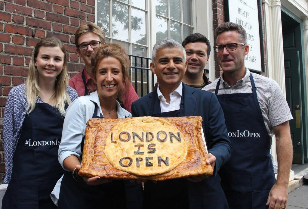 A pie baked with the topping '#LondonIsOpen'