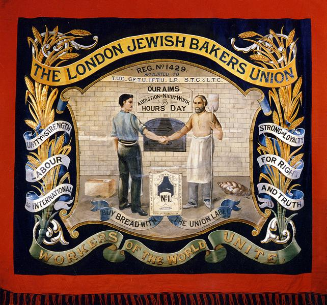 The banner represents a tangible link with the Jewish labour movement which flourished in London's East End at the turn of the 19th and 20th centuries. It was commissioned while Michael Proof, a leading militant, was the union's secretary.