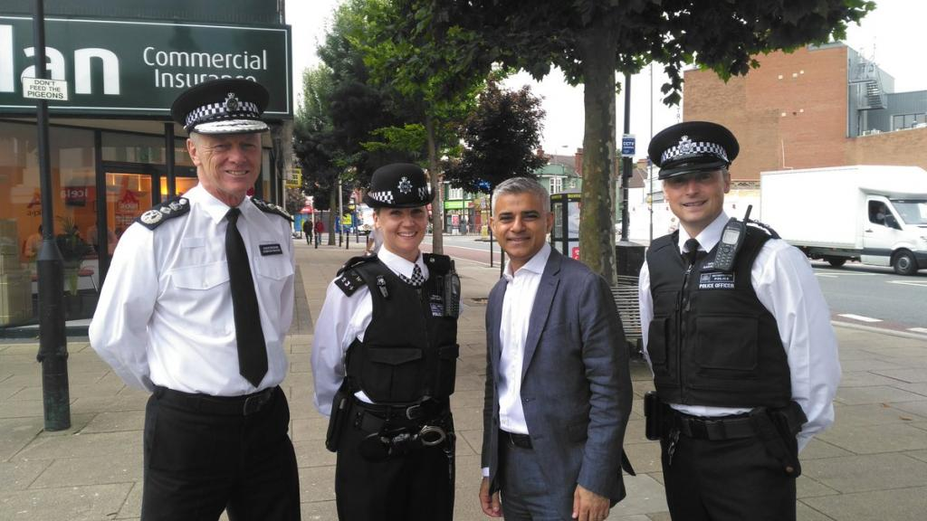 Sadiq with 3 police officers