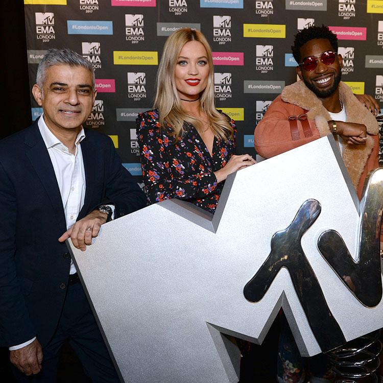 Sadiq at MTV EMA awards with Tinie Tempah and Laura Whitmore