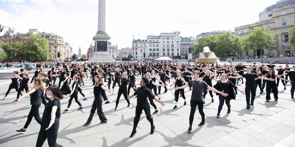 People dancing in Trafalgar Square