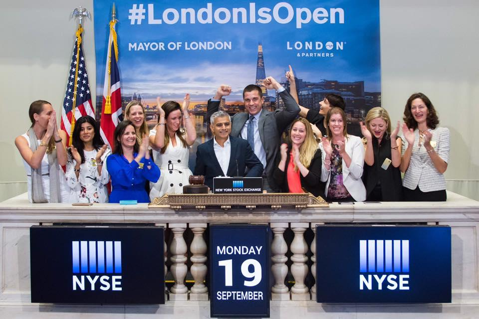 Sadiq ringing the closing bell at the New York stock exchange