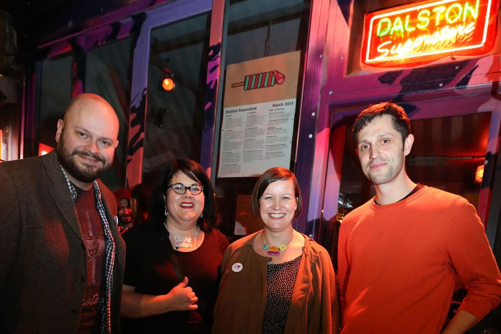 Outside Dalston Superstores with Philip Glanville, Meg Hillier MP and Dan Beaumont