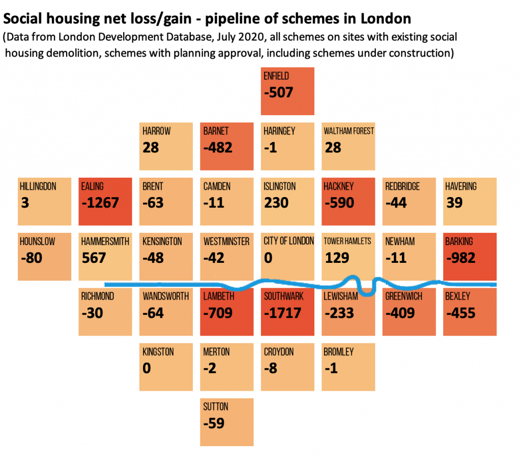 Map showing boroughs set to lose social rented homes in estate redevelopment schemes granted planning permission since 2003 where construction has not begun or is not complete