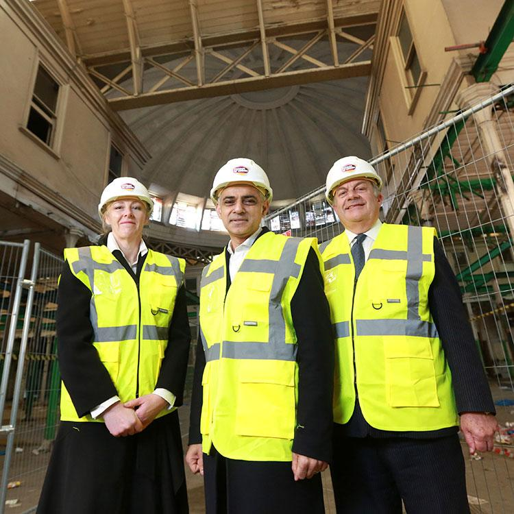 Sharon Ament, Sadiq Khan and Mark Boleat on site at Museum of London's new home in West Smithfield